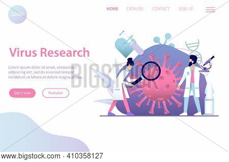 Flat Coronavirus Research And Vaccine Invention Web Site Page Vector Illustration