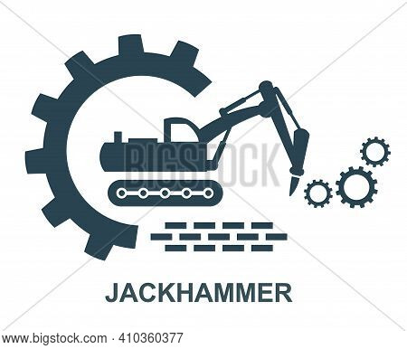Vector Icon Of The Tractor Hammer Logo. Construction And Special Equipment, Tractor.