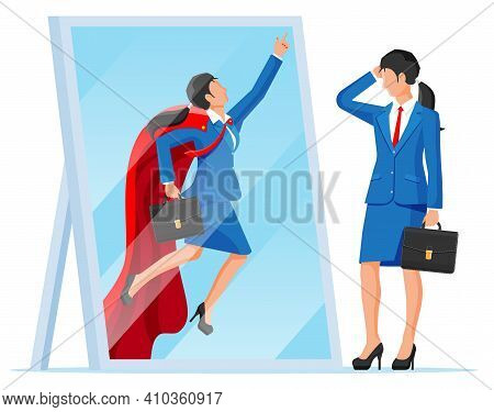 Businesswoman Facing Herself As Superhero In Mirror. Business Ambition And Success Concept. Symbol O