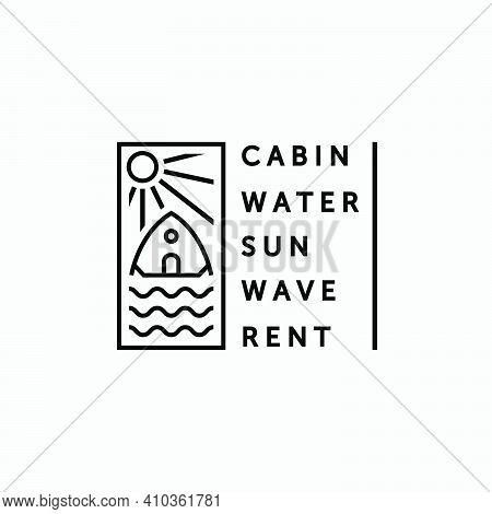 Minimalist Emblem Cabin And Water Logo Vector Line Art, Illustration Design Of Cottage In The Lake C