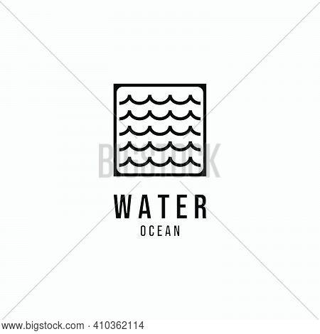 Water Wave Vector Logo Line Art, Illustration Design Of  Ocean Lake River Minimalist Concept Creativ