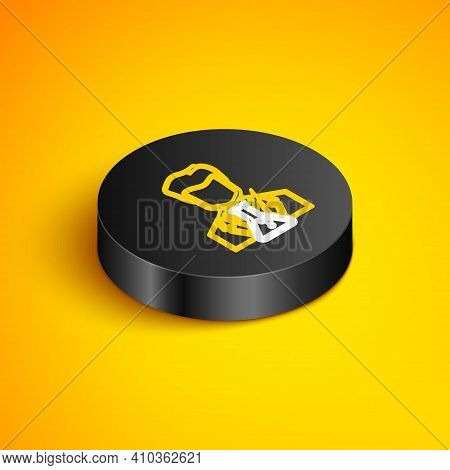 Isometric Line Scientist And Test Tube Icon Isolated On Yellow Background. Scientist Chemist Analyze