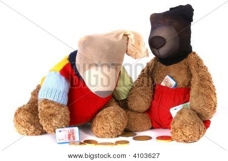 Beary Bank Robbers wearing masks and gathering chocolate money poster