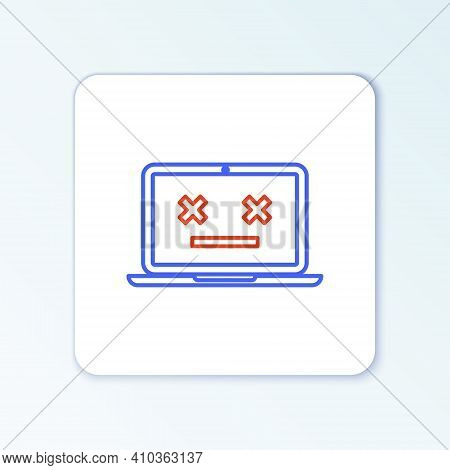 Line Dead Laptop Icon Isolated On White Background. 404 Error Like Laptop With Dead Emoji. Fatal Err