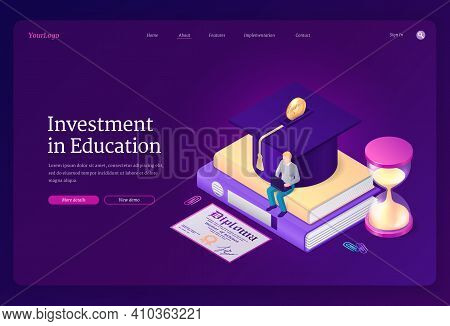 Investment In Education Banner. Student Loan, Cost Of Study In College Or University. Vector Landing