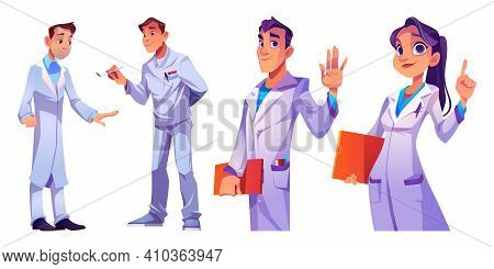 Doctors And Nurses Hospital Healthcare Staff Set. Characters In Medical Robes With Medic Stuff And I