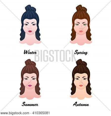 12 Seasonal Color Types. Four Colour Types Of Asian Women Appearances. Winter, Spring, Summer And Au