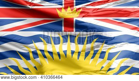 Flag Of British Columbia. Waving Flag. A Canadian Province.