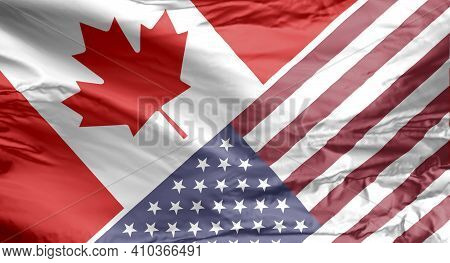 Canadian And American Flag. Canada And Usa Flag.