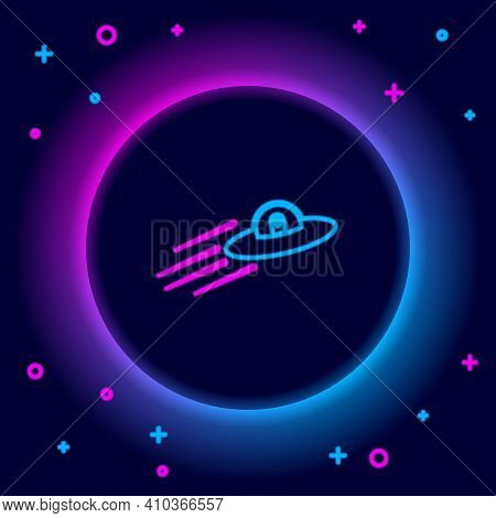 Glowing Neon Line Ufo Flying Spaceship And Alien Icon Isolated On Black Background. Flying Saucer. A