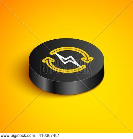 Isometric Line Recharging Icon Isolated On Yellow Background. Electric Energy Sign. Black Circle But