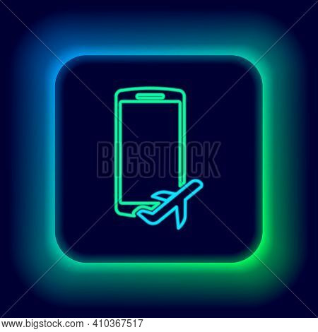 Glowing Neon Line Flight Mode In The Mobile Phone Icon Isolated On Black Background. Airplane Or Aer