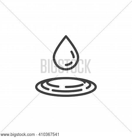 Water Drop Fall Line Icon. Raindrop Linear Style Sign For Mobile Concept And Web Design. Pure Water