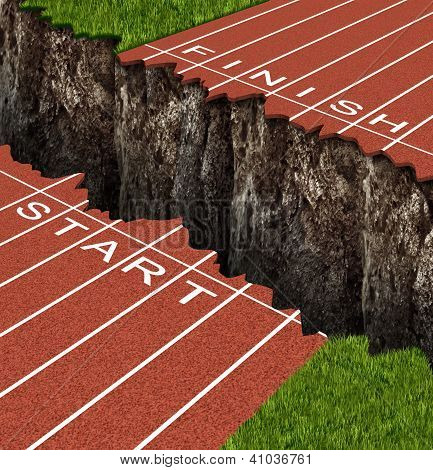 Success Risk and conquering adversity in reaching your goals as a business concept represented by a track and field race track with start and finish lines seperated by a deep and dangerous rock cliff. poster