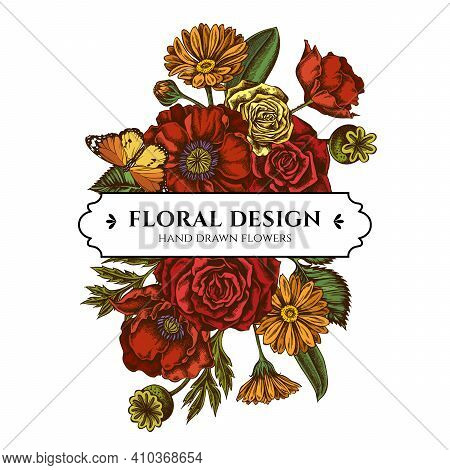 Floral Bouquet Design With Colored Poppy Flower, Calendula, Plain Tiger, Roses Stock Illustration
