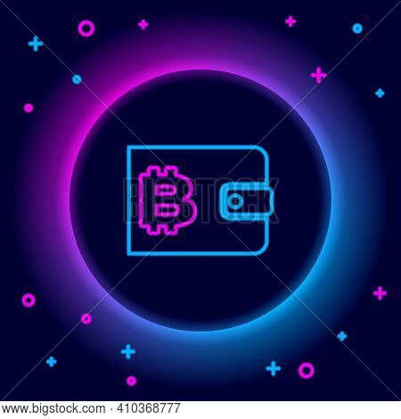 Glowing Neon Line Cryptocurrency Wallet Icon Isolated On Black Background. Wallet And Bitcoin Sign.