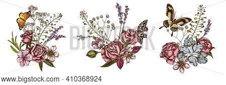 Flower Bouquet Of Colored Shepherd S Purse, Heather, Iris Japonica, Sakura, Gypsophila, Almond, Lemo