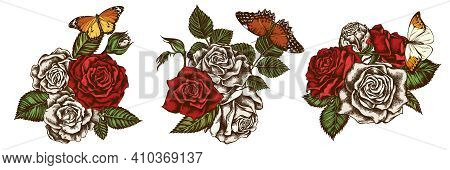 Flower Bouquet Of Colored Red Lacewing, Great Orange-tip, Plain Tiger, Roses Stock Illustration