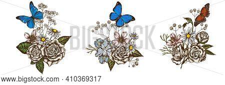 Flower Bouquet Of Colored Iris Japonica, Gypsophila, Chamomile, Almond, Menelaus Blue Morpho, Blue M