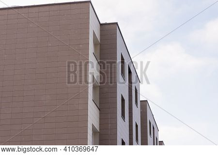 Fragment Apartment Flat Building Exterior. Detail Of New Luxury House And Home Complex. Part Of City
