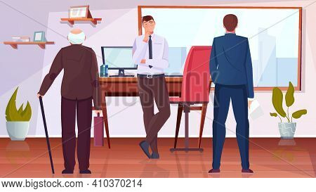 Age Discrimination Flat Background With Elderly And Young Man In Office Vector Illustration
