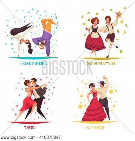 International Dance Day 2x2 Design Concept Set Of Breakdancing Flamenco Tango Flat Compositions Vect