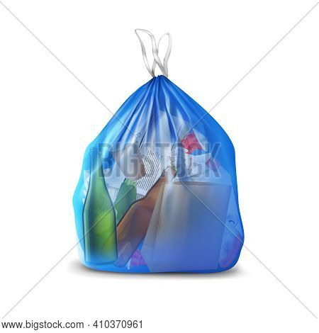Transparent Plastic Bag With Trash Realistic Composition Of Translucent Container Filled With Paper