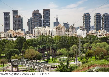 Israel, Tel-aviv, February, 24, 2016 - View Of The Modern Multistory Tel-aviv With New Roads And Bea