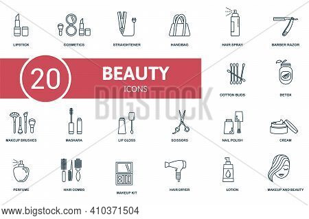 Makeup And Beauty Icon Set. Contains Editable Icons Makeup And Beauty Theme Such As Cosmetics, Handb