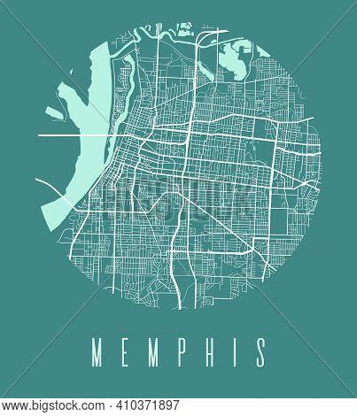 Memphis Map Poster. Decorative Design Street Map Of Memphis City. Cityscape Aria Panorama Silhouette