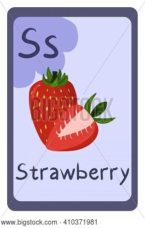 Colorful Abc Education Flash Card, Letter S - Strawberry, Red Summer Berry. Alphabet Vector Illustra