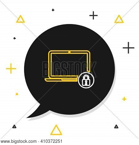 Line Laptop And Lock Icon Isolated On White Background. Computer And Padlock. Security, Safety, Prot