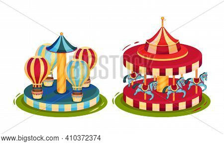 Circus Attribute With Horse Whirlabout And Merry-go-round Vector Set
