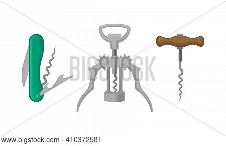Corkscrew As Tool For Drawing Corks From Wine Bottles Vector Set