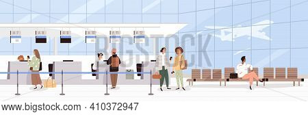 Scene With People During Registration At Airport Counter Check-in. Panorama Of Air Terminal Interior