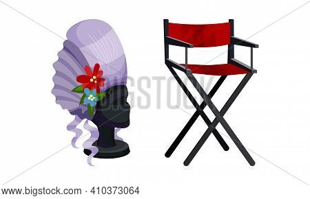 Dressing Room Items With False Hair And Stool Vector Set
