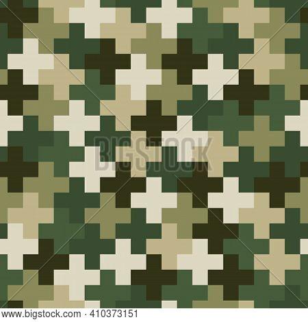 Cross Pavement Ornament Seamless Pattern. Camouflage Mosaics Wallpaper