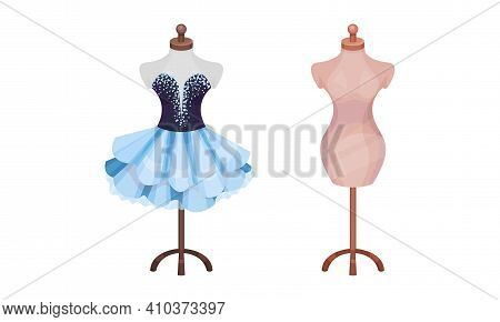 Dressing Room Items With Body Mannequin On Wooden Stand And Dress Vector Set