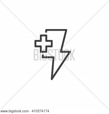 Energy Plus Line Icon. Linear Style Sign For Mobile Concept And Web Design. Lightning And Plus Outli