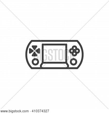 Handheld Gamepad Line Icon. Linear Style Sign For Mobile Concept And Web Design. Handheld Video Game