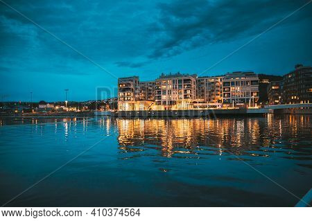 Oslo, Norway - June 24, 2019: Scenic Night Evening View Of Illuminated Residential Area District Dow