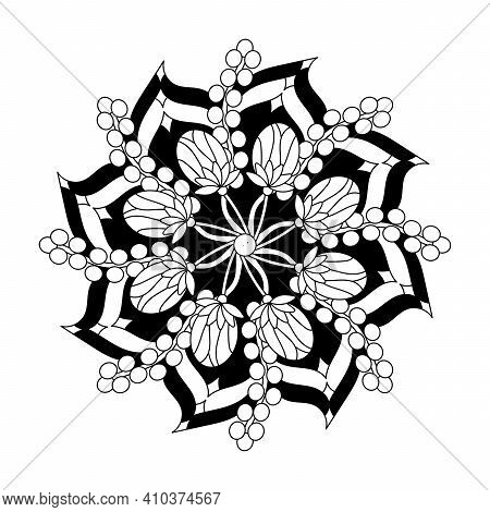 Circular Mandala Flower With Modern Floral Style, Hand Drawn Mandala Pattern. Vector Abstract Black