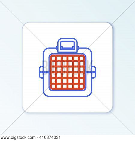 Line Pet Carry Case Icon Isolated On White Background. Carrier For Animals, Dog And Cat. Container F