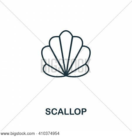 Scallop Icon. Simple Illustration From Seafood Collection. Creative Scallop Icon For Web Design, Tem