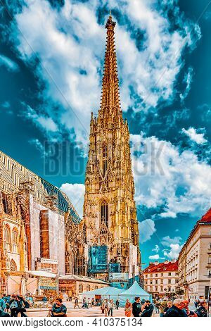 Vienna,austria-september 10, 2015: St. Stephen's Cathedral(stephansdom) The Mother Church Of The Rom