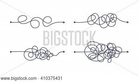 Complex And Easy Simple Way From Start To End Vector Illustration Set. Chaos Simplifying, Problem So