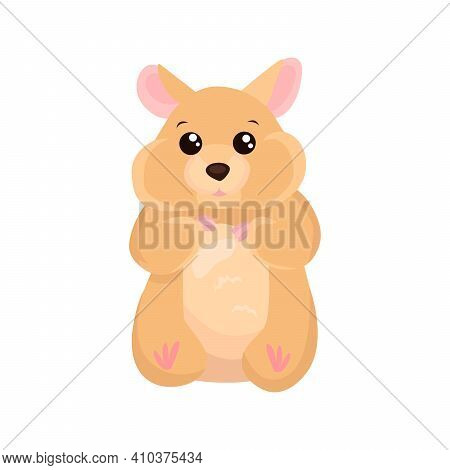 Hamster Flat Icon. Colored Vector Element From Animals Collection. Creative Hamster Icon For Web Des