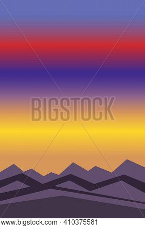 Violet, Orange, Red And Yellow Sun Set Sky. Blue And Purple Mountain Silhouette. Snowy Peaks. Abstra