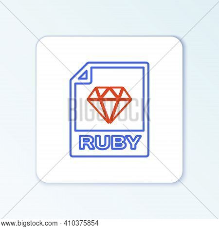 Line Ruby File Document. Download Ruby Button Icon Isolated On White Background. Ruby File Symbol. C