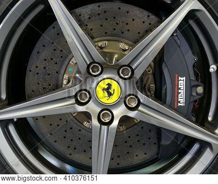 LONDON, UK - CIRCA JULY 2013: Ferrari F12 Berlinetta wheel with Brembo carbon ceramic disk brake.